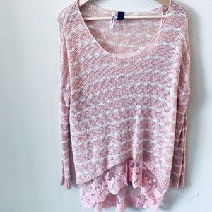 Love by Design | Pink Lace Trimmed Knitted Sweater